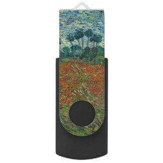 Poppy Field by Vincent Van Gogh Swivel USB 2.0 Flash Drive