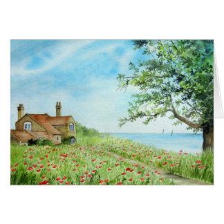 Poppy Field, Coastal Landscape Card
