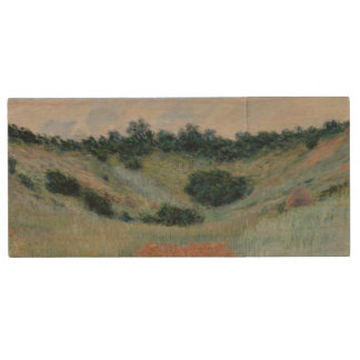 Poppy Field in a Hollow Near Giverny by Monet Wood USB 2.0 Flash Drive