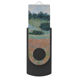 Poppy Field in a Hollow Near Giverny by Monet Swivel USB 2.0 Flash Drive