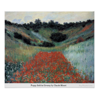 Poppy field in Giverny by Claude Monet Posters