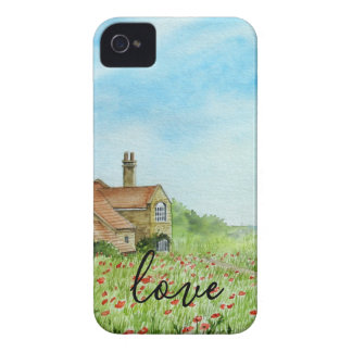 Poppy Field Landscape Watercolor Painting iPhone 4 Cover