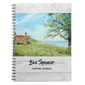 Poppy Field Landscape Watercolor Painting Notebook