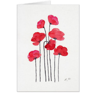 Poppy field of flowers card