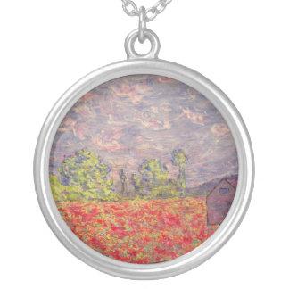 poppy field & purple barn round pendant necklace