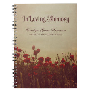 Poppy Field Rustic In Loving Memory Guestbook Notebooks