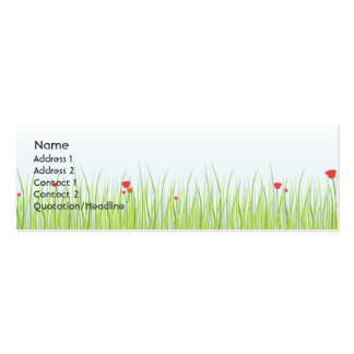 Poppy Field - Skinny Double-Sided Mini Business Cards (Pack Of 20)
