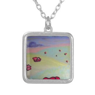 Poppy Field Square Pendant Necklace