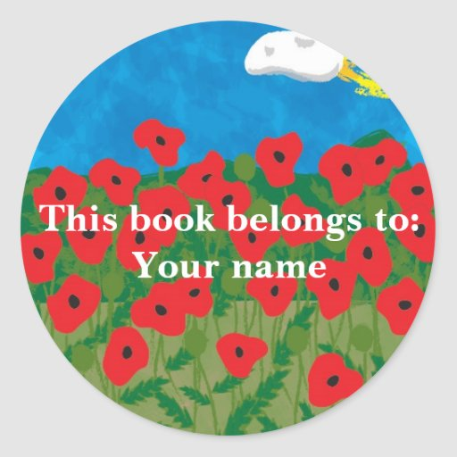 Poppy field, This book belongs to:Your name Round Sticker