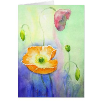 Poppy Field watercolour card