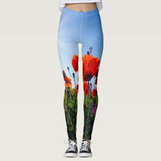 Poppy Field Wildflowers Leggins Leggings