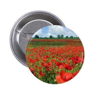 Poppy Fields Pinback Buttons