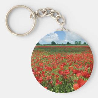 Poppy Fields Basic Round Button Key Ring