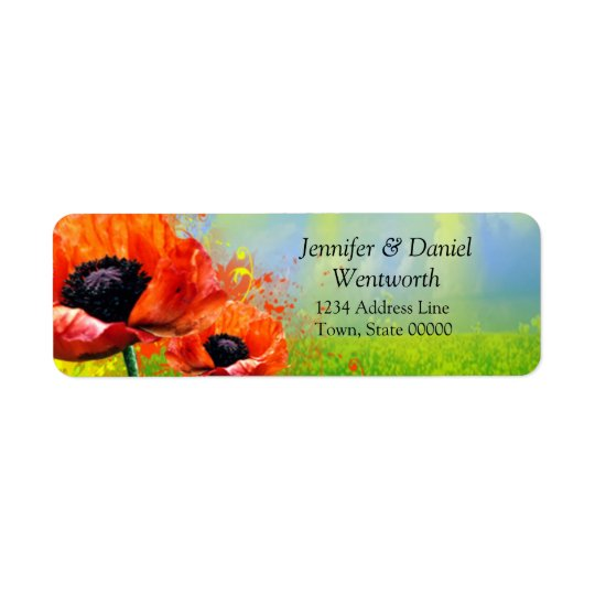 Poppy Fields Garden Party Return Address Labels