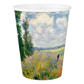 Poppy Fields near Argenteuil by Claude Monet Paper Cup