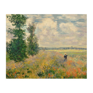 Poppy Fields near Argenteuil by Claude Monet Wood Wall Decor
