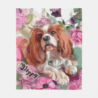 Poppy Fleece Blanket | Cavalier Blenheim | Medium