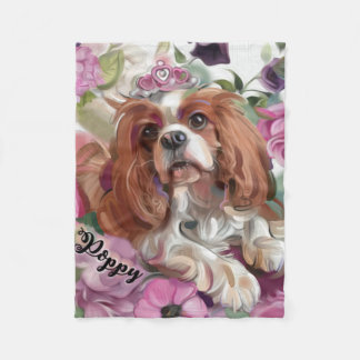 Poppy Fleece Blanket | Cavalier Blenheim | Small