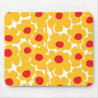 Poppy Floral Pattern Mouse Pad