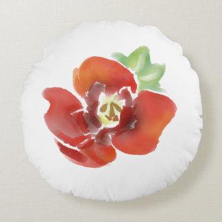 Poppy flower cushion, water colour, original art round cushion