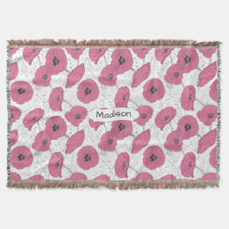 Poppy Flower Pattern custom name throw blanket
