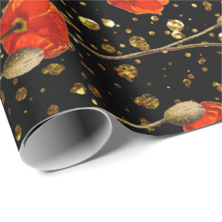Poppy Flower Stripes Black Gold Confetti Glitter Wrapping Paper