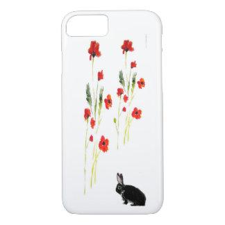 Poppy Flowers Bunny Rabbit Art iPhone 7 Case