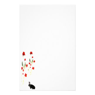 Poppy Flowers Bunny Rabbit Stationery
