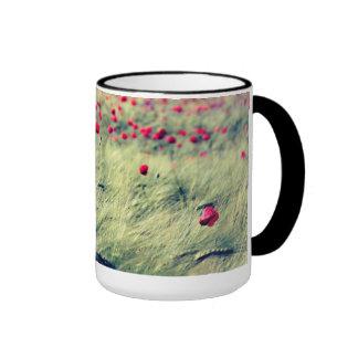 Poppy flowers in the corn field coffee mug