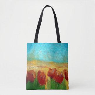 POPPY FLOWERS LANDSCAPE All-Over-Print Tote Bag