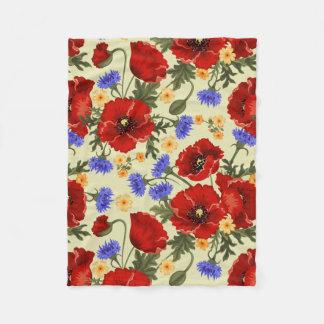 Poppy Flowers, Petals, Leaves - Red Green Blue Fleece Blanket