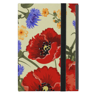 Poppy Flowers, Petals, Leaves - Red Green Blue iPad Mini Covers
