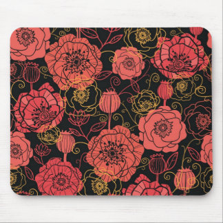 Poppy flowers red on black pattern mouse pad