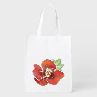 Poppy flowers watercolour, original artwork reusable grocery bag
