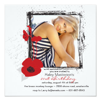 Poppy Frame Photo Invitation