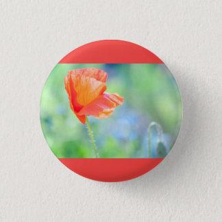 Poppy in the wind 3 cm round badge