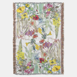 Poppy Iris Crocus Foxglove Flowers Throw Blanket