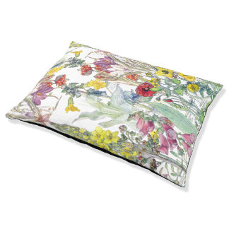 Poppy Iris Foxglove Crocus Floral Dog Bed