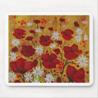 Poppy Meadow, Red Flowers Mouse Pad