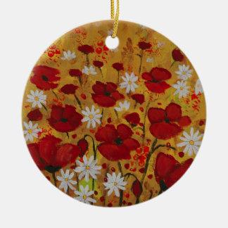 Poppy Meadow, Red Flowers Round Ceramic Decoration