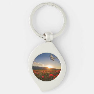 Poppy Mossie Silver-Colored Swirl Key Ring