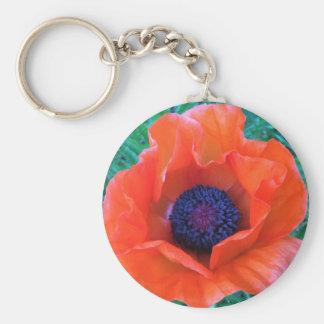 POPPY Oriental Red Orange --- Basic Round Button Key Ring