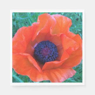 POPPY Oriental Red Orange --- Disposable Serviette