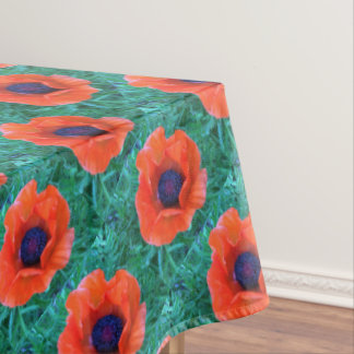 POPPY Oriental Red Orange --- Echo Print. Tablecloth