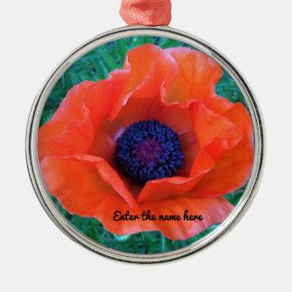 POPPY Oriental Red Orange --- Metal Ornament