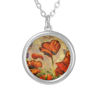 Poppy Painting III Silver Plated Necklace