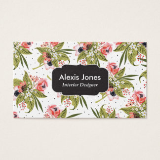 Poppy Patterned Floral Business Card