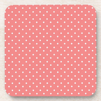 Poppy Red And White Polka Dots Design Beverage Coaster