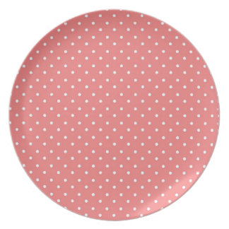 Poppy Red And White Polka Dots Design Plates