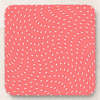Poppy Red And White Polka Dots Pattern Coaster